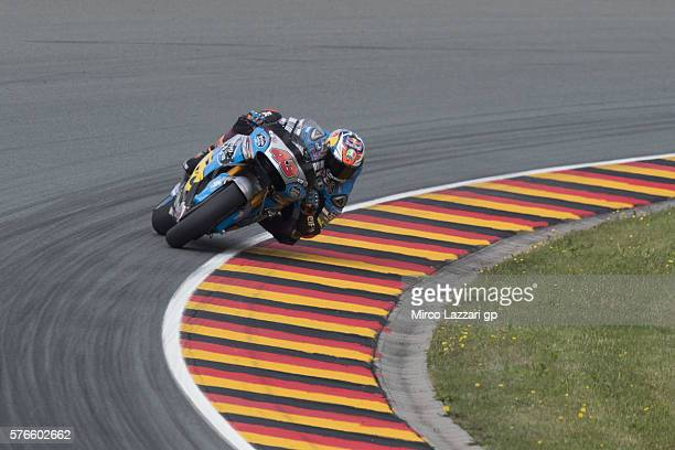 Jack Miller of Australia and Marc VDS Racing Team rounds the bend during the MotoGp of Germany Qualifying at Sachsenring Circuit on July 16 2016 in...