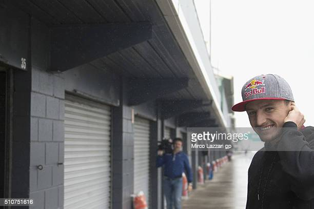 Jack Miller of Australia and Marc VDS Racing Team smiles in front of box during the 2016 MotoGP Test Day at Phillip Island Grand Prix Circuit on...