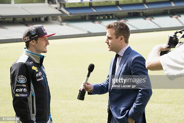 Jack Miller of Australia and Marc VDS Racing Team speaks with Australian TV speaker during the preevent in Melbourne Cricket Ground during the MotoGP...