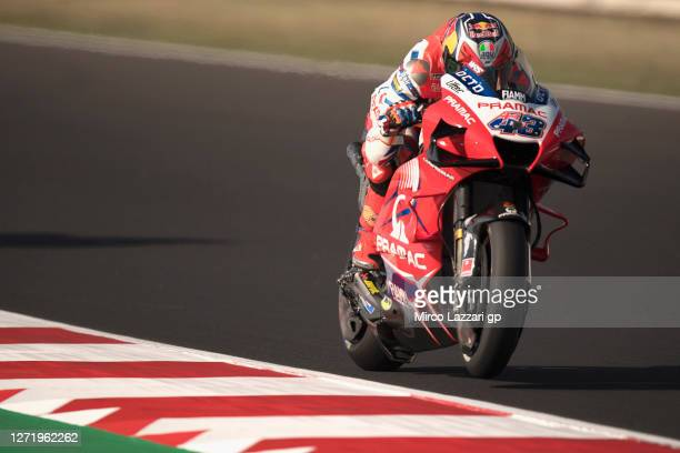 Jack Miller of Australia and Pramac Racing heads down a straight during the MotoGP Of San Marino - Free Practice at Misano World Circuit on September...