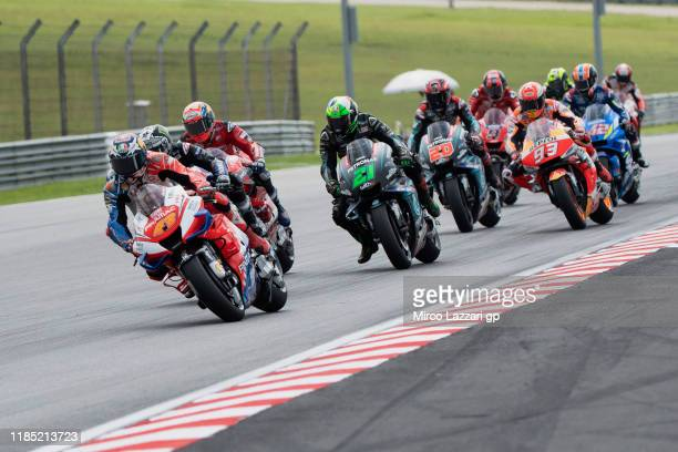Jack Miller of Australia and Pramac Racing leads the field during the MotoGP race during the MotoGP of Malaysia - Race at Sepang Circuit on November...