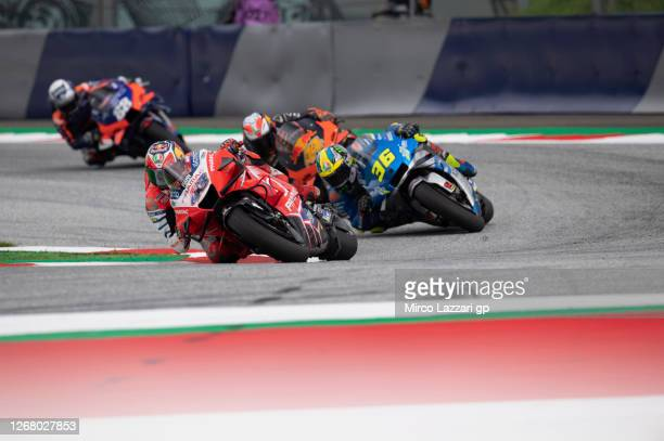 Jack Miller of Australia and Pramac Racing leads the field during the MotoGP race during the MotoGP Of Styria Race at Red Bull Ring on August 23 2020...
