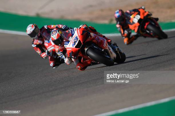 Jack Miller of Australia and Pramac Racing leads the field during the free practice for the MotoGP of Aragon at Motorland Aragon Circuit on October...