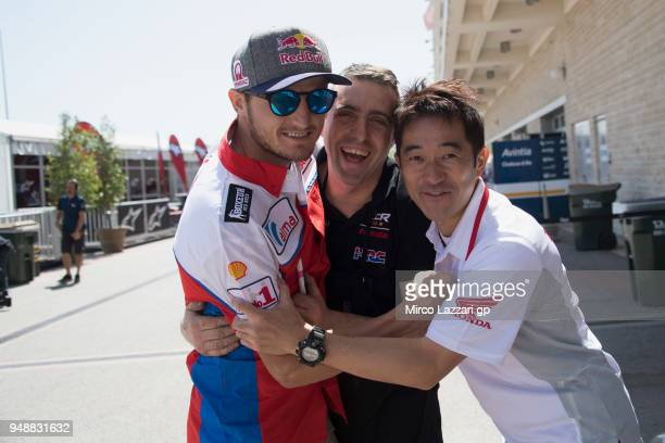 Jack Miller of Australia and Pramac Racing poses with his ex mechanics in paddock during the MotoGp Red Bull US Grand Prix of The Americas Previews...