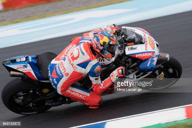 Jack Miller of Australia and Pramac Racing rounds the bend during the qualifying practice during the MotoGp of Argentina Qualifying on April 7 2018...