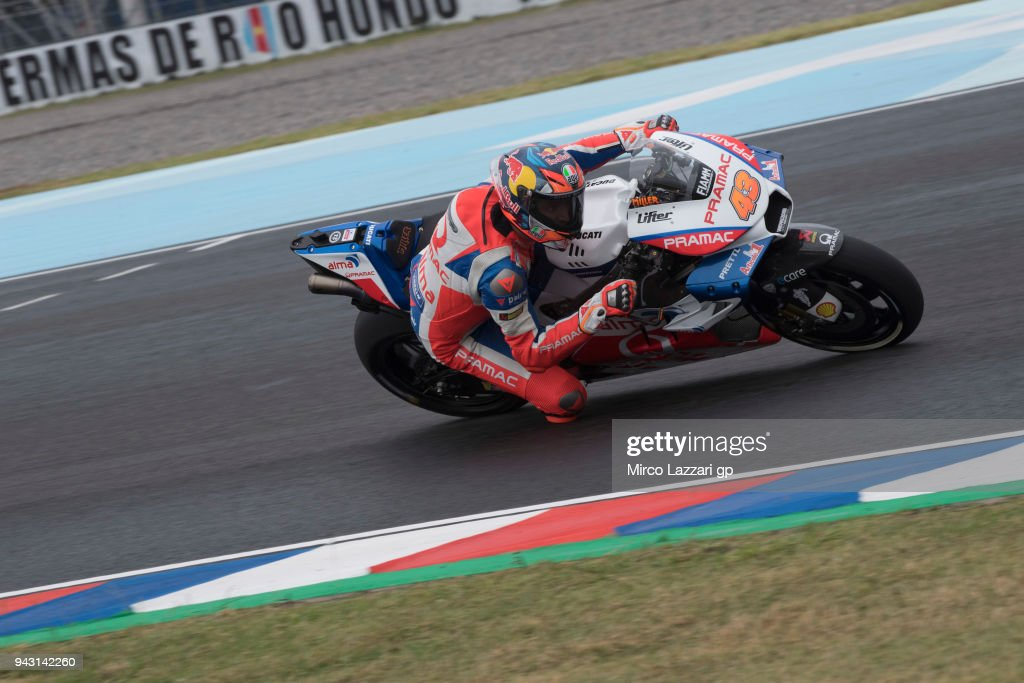 Jack Miller of Australia and Pramac Racing rounds the bend during the qualifying practice during the MotoGp of Argentina - Qualifying on April 7, 2018 in Rio Hondo, Argentina.