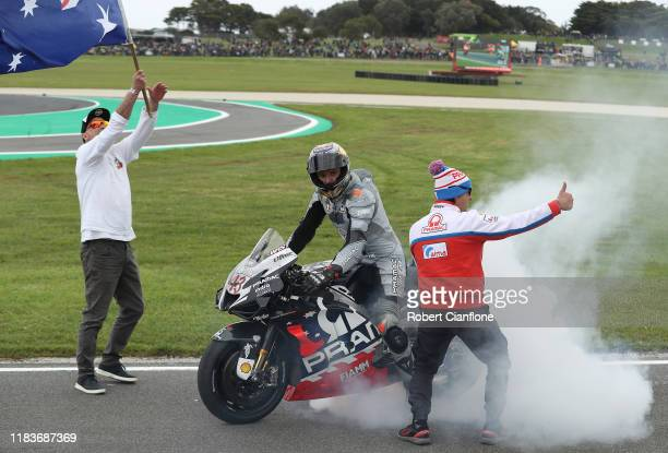Jack Miller of Australia and rider of the Pramac Racing Ducati celebrates after he finished third during the 2019 MotoGP of Australia at Phillip...