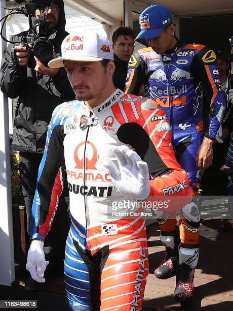 Jack Miller of Australia and rider of the Pramac Racing Ducati is seen after a meeting with officials and riders to asses track conditions as strong...