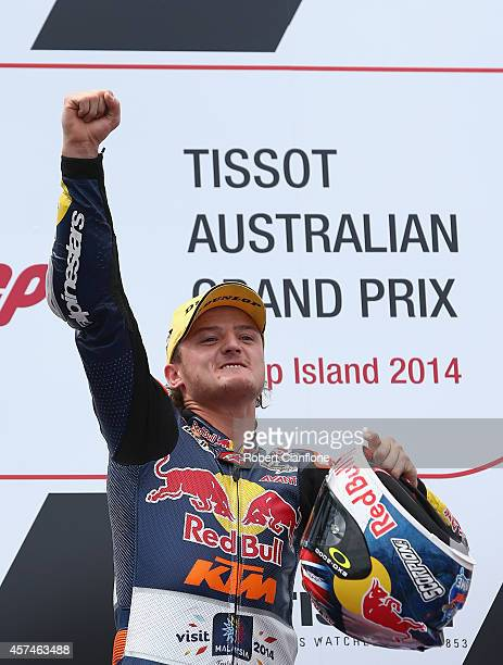 Jack Miller of Australia and rider of the Red Bull KTM AJO ATM celebrates after winning the Moto3 race at for the 2014 MotoGP of Australia at Phillip...