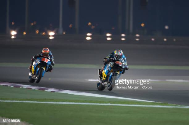 Jack Miller of Australia and Tito Rabat of Spain who ride Honda for Marc VDS Team during the final MotoGP winter test at Losail International Circuit...