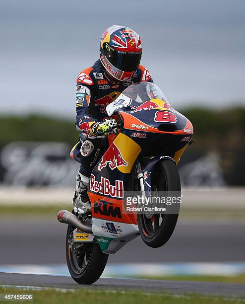 Jack Miller of Australia rides the Red Bull KTM AJO ATM during the warm up session for the 2014 MotoGP of Australia at Phillip Island Grand Prix...