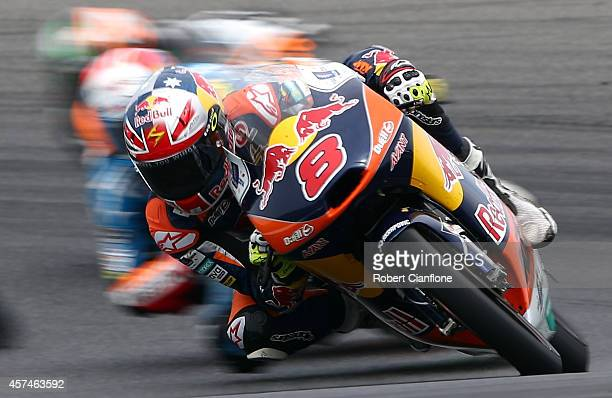 Jack Miller of Australia rides the Red Bull KTM AJO ATM during the Moto3 race at the 2014 MotoGP of Australia at Phillip Island Grand Prix Circuit on...