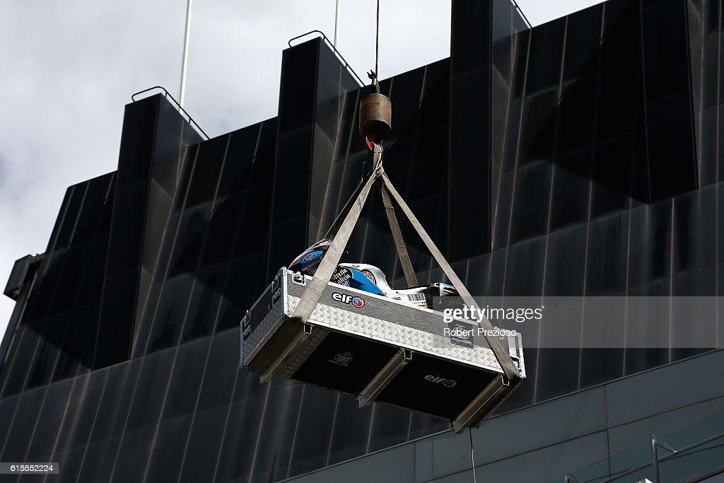Jack Miller's bike is lowered from the roof after the MotoGP of Australia press conference at Melbourne Cricket Ground on October 19, 2016 in Melbourne, Australia.