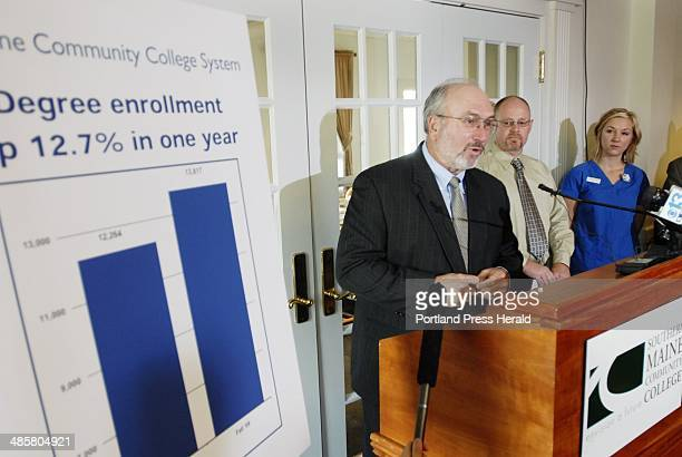 Jack Milton/Staff Photographer: John Fitzsimmons, president of the Maine Community College System, talks about enrollment gains Wednesday at Southern...
