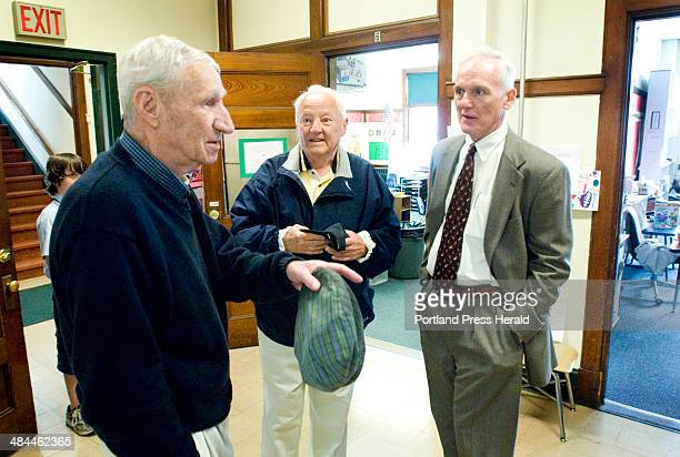 Tom Nee class of 1944 Wallace DeCourcey and Jim Curran all alumni of St Patrick's School in Portland visit the school Thursday June 14 on the last...