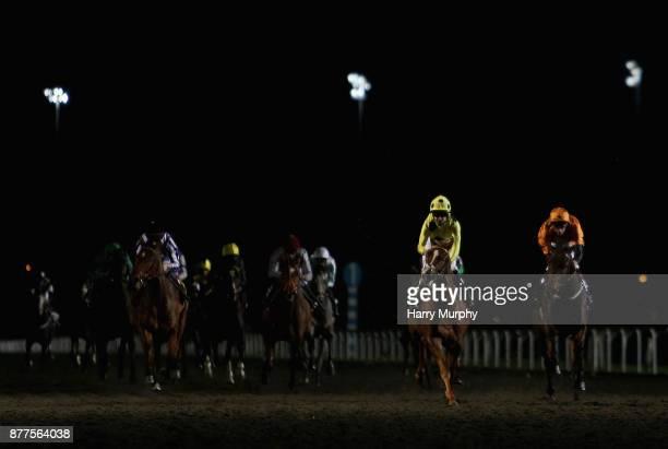 Jack Mitchell riding Flavius Titus win the the 32Red casino/EBFstallionscom novice stakes at Kempton Park on November 22 2017 in Sunbury England