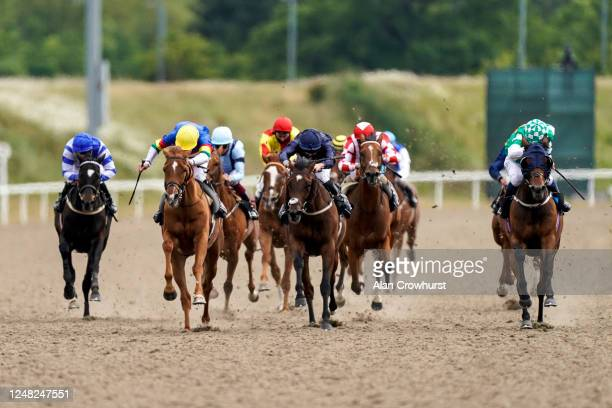 Jack Mitchell riding Ritchie Valens win The Roxwell Handicap at Chelmsford City Racecourse on June 08, 2020 in Chelmsford, England.