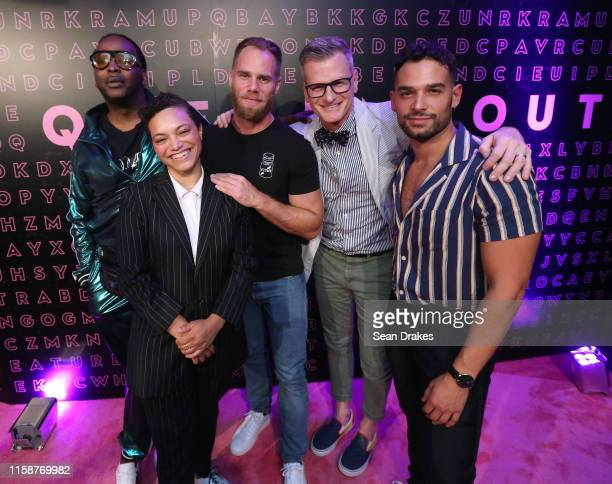 Jack Mizrahi, Whembley Sewell, Matthew Milkas, Marc Malkin and Johnny Sibilly pose at Queer Me Out: Storytelling & Social Change as part of Stonewall...