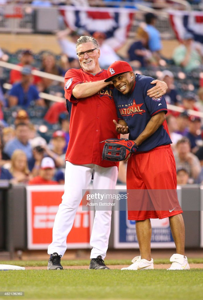 Jack Morris and Nelly joke at the 2014 MLB All-Star legends and celebrity softball game on July 13, 2014 at the Target Field in Minneapolis, Minnesota.