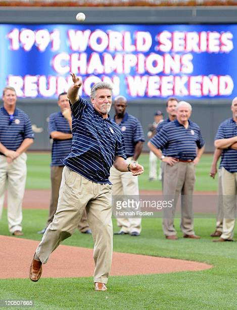 Jack Morris former pitcher for the Minnesota Twins delivers a ceremonial pitch as the Twins celebrate the twentieth anniversary of the 1991 World...