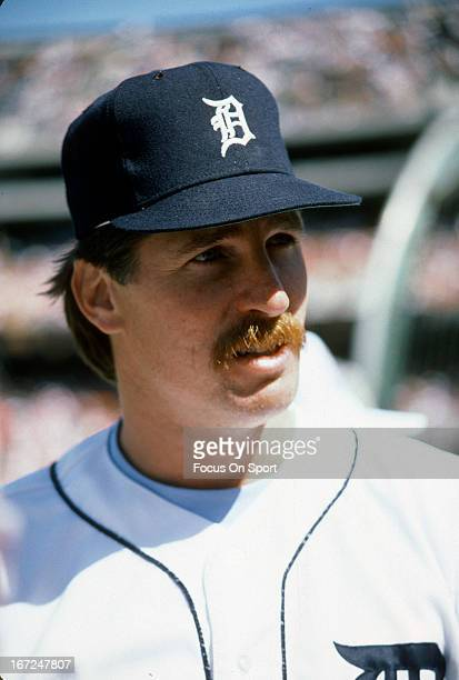 Jack Morris of the Detroit Tigers looks on during an Major League Baseball game circa 1985 at Tiger Stadium in Detroit Michigan Morris played for the...