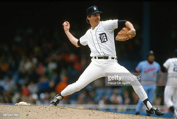 Jack Morris of the Detroit Tigers pitches against the Minnesota Twins during an Major League Baseball game circa 1985 at Tiger Stadium in Detroit...