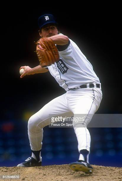 Jack Morris of the Detroit Tigers pitches during a Major League Baseball game circa 1989 at Tiger Stadium in Detroit Michigan Morris played for the...