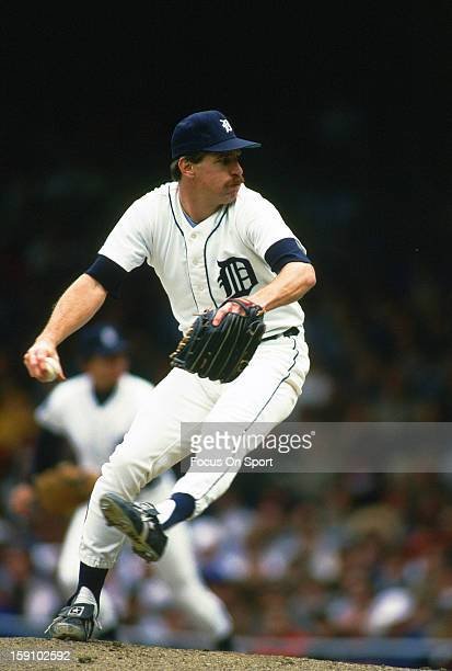 Jack Morris of the Detroit Tigers pitches during an Major League Baseball game circa 1990 at Tiger Stadium in Detroit Michigan Morris played for the...