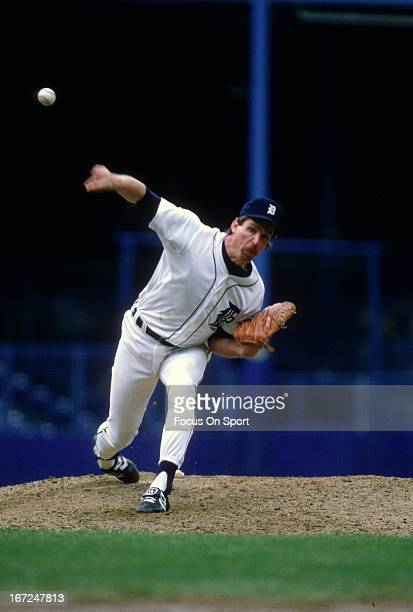 Jack Morris of the Detroit Tigers pitches during an Major League Baseball game circa 1985 at Tiger Stadium in Detroit Michigan Morris played for the...