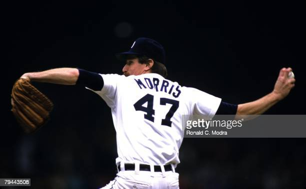 Jack Morris of the Detroit Tigers pitching during Game 4 of the 1984 World Series against the San Diego Padres on October 13 1984 in Detroit Michigan