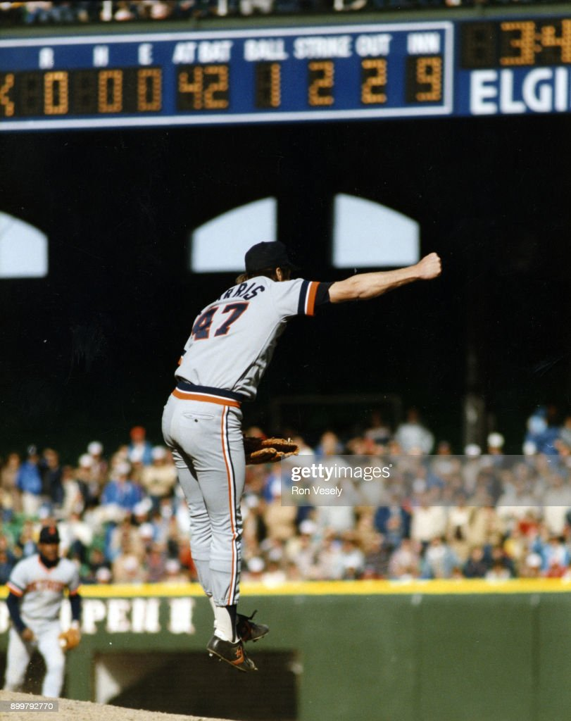 Jack Morris #47 of the Detroit Tigers reacts after striking out Ron Kittle #42 of the Chicago White Sox for the final out as Morris pitched a no-hitter against the Chicago White Sox on April 7, 1984 at Comiskey Park in Chicago, Illinois.