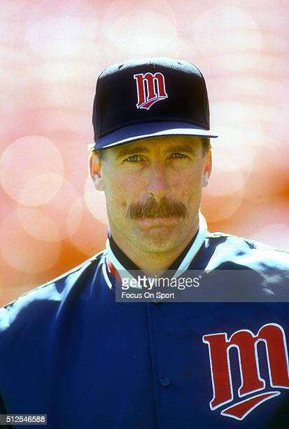 Jack Morris of the Minnesota Twins looks on prior to the start of a Major League Baseball game against the Oakland Athletics circa 1991 at the...
