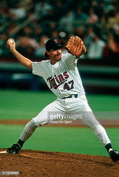 Jack Morris of the Minnesota Twins pitches against the Atlanta Braves in Game 7 of the World Series October 27 1991 at the Hubert H Humphrey...