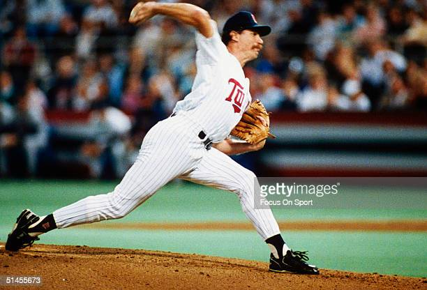Jack Morris of the Minnesota Twins Pitches against the Atlanta Braves during the World Series at the Metrodome in Minneapolis Minneapolis in October...