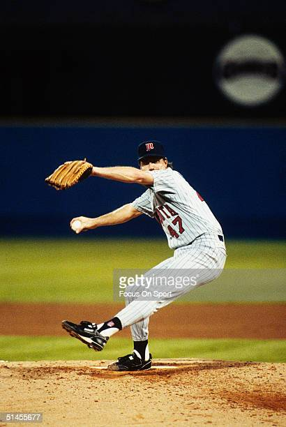 Jack Morris of the Minnesota Twins pitches against the Atlanta Braves during Game four of the 1991 World Series at Fulton County Stadium on October...