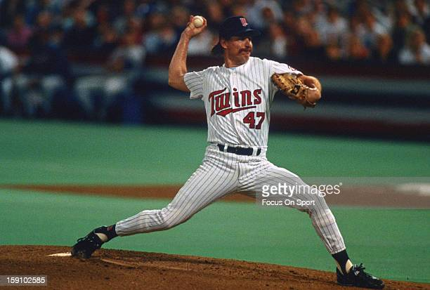 Jack Morris of the Minnesota Twins pitches during an Major League Baseball game circa 1991 at the Metrodome in Minneapolis Minnesota Morris played...
