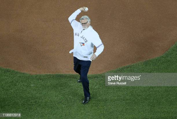 TORONTO ON MARCH 28 Jack Morris throws out the first pitch as the Toronto Blue Jays open the season against the Detroit Tigers at the Rogers Centre...
