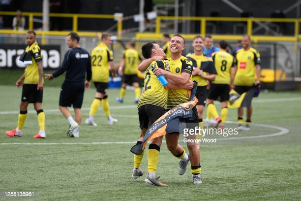 Jack Muldoon of Harrogate Town celebrates with his team mate Ryan Fallowfield following the Vanarama National League Play-Off Semi-final match...