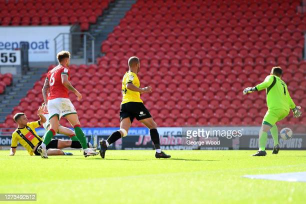 Jack Muldoon of Harrogate Town scores his sides second goal during the Sky Bet League Two match between Harrogate Town and Walsall at The Keepmoat...