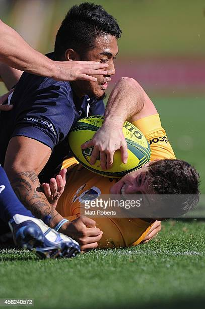 Jack Mullins of Brisbane City scores a try during the round six NRC match between Brisbane City and Queensland Country at Ballymore Stadium on...