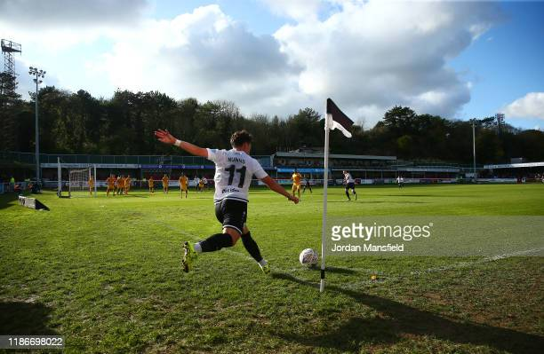 Jack Munns of Dover Athletic takes a corner during the FA Cup First Round match between Dover Athletic and Southend United at Crabble Stadium on...