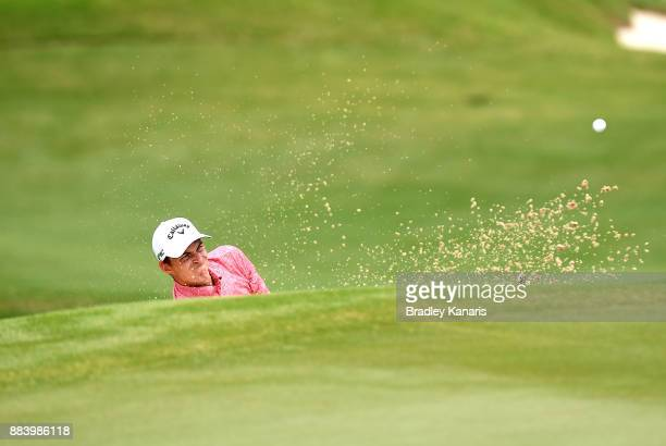 Jack Munro of Australia plays a shot out of the bunker on the 8th hole during day three of the 2017 Australian PGA Championship at Royal Pines Resort...