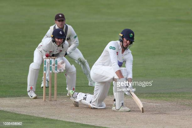 Grant Stewart of Kent bowls during day 1 of the Specsavers County Championship Division 2 match between Kent and Glamorgan at The Spitfire Ground on...