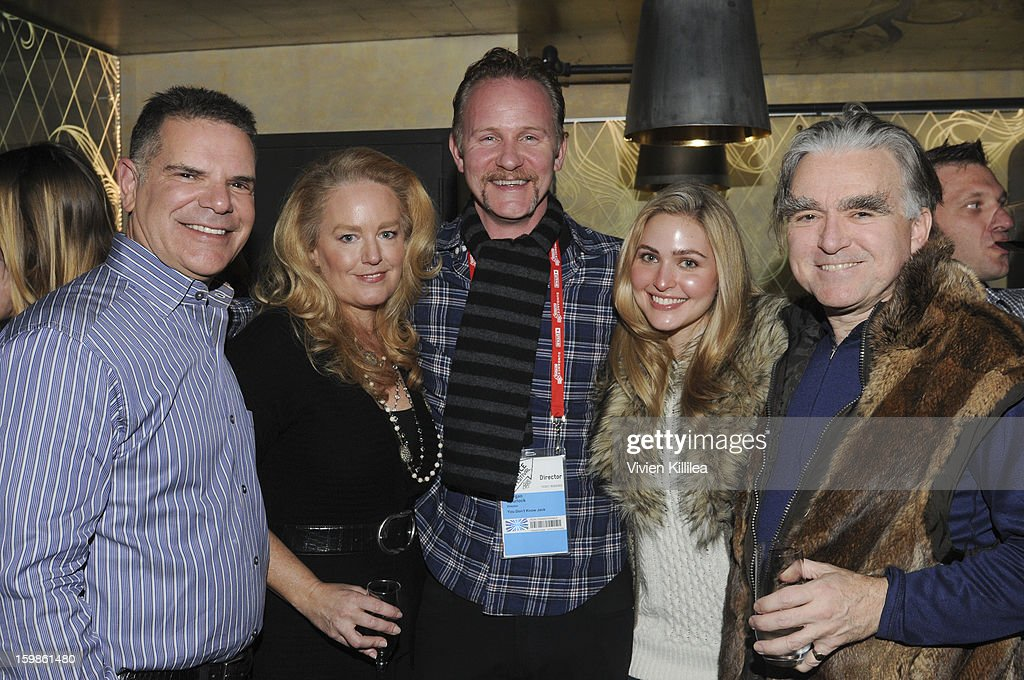 Jack Myers, Nora Burton, Morgan Spurlock, Christine Pedersen and George Whipple attend Focus Forward - Short Films Big Ideas Dinner - 2013 Park City on January 21, 2013 in Park City, Utah.