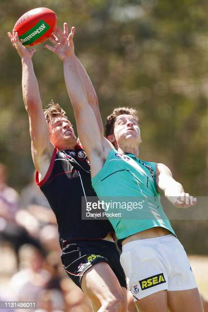Jack Newnes of the Saints and Nick Coffield of the Saints contest the ball during the St Kilda preseason club match at RSEA Park on February 23 2019...