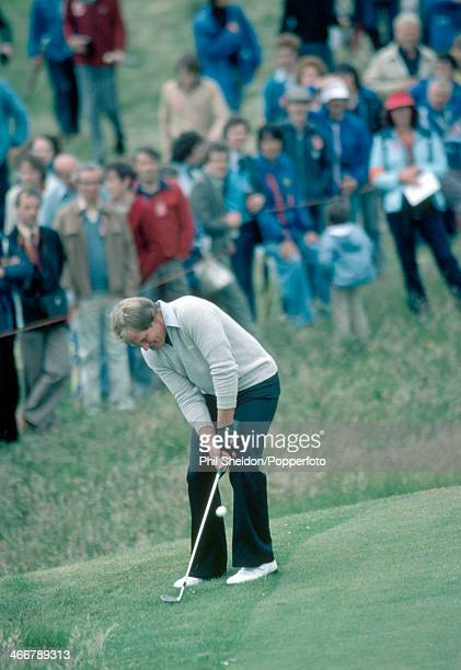 Jack Newton of Australia in action during the British Open Golf Championship held at the Muirfeild Golf Course in Scotland circa July 1980