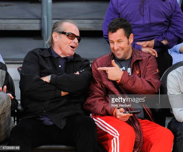 Jack Nicholson and Adam Sandler attend a basketball game between the Houston Rockets and the Los Angeles Lakers at Staples Center on February 19 2014...