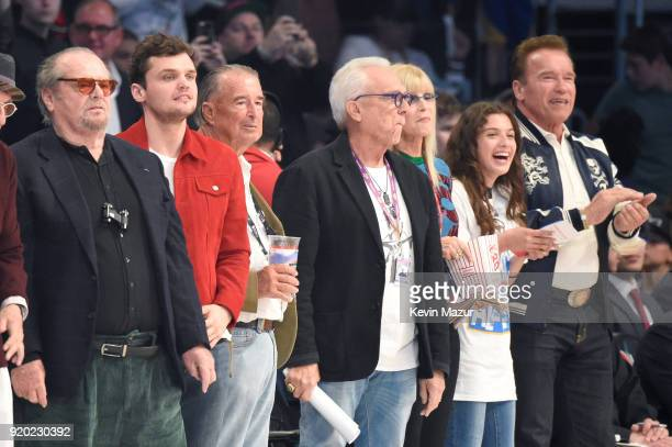 Jack Nicholson and Arnold Schwarzenegger attend the 67th NBA AllStar Game Team LeBron Vs Team Stephen at Staples Center on February 18 2018 in Los...