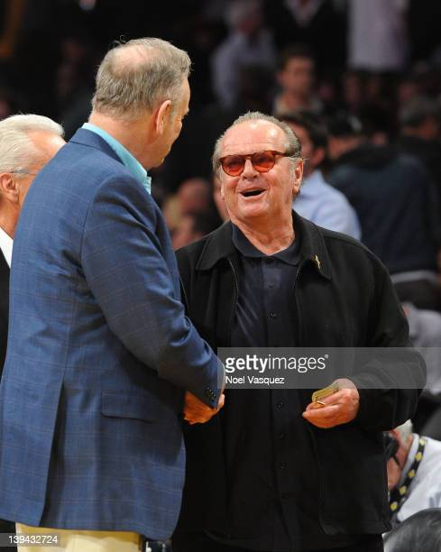 Jack Nicholson and Bill O'Reilly attend a basketball game between the Portland Trail Blazers and the Los Angeles Lakers at Staples Center on February...