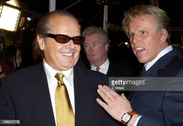 Jack Nicholson and Gary Busey during About Schmidt Los Angeles Premiere Arrivals at Academy of Motion Picture Arts and Sciences in Beverly Hills...